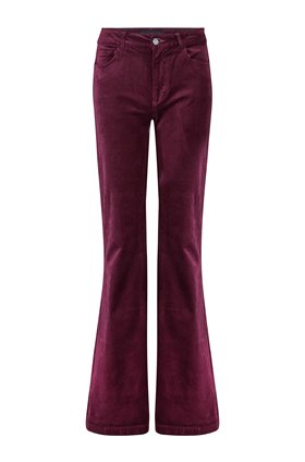Paige GENEVIEVE FLARED VELVET JEANS IN BURGUNDY