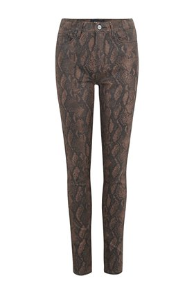 Paige Hoxton Ultra Skinny Jean in Coated Brown Snake