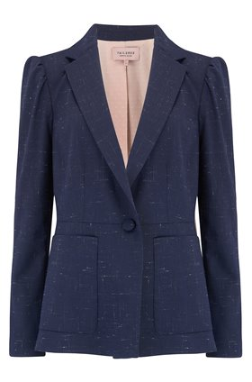 Tailored by Rebecca Taylor  CROSS HATCH JACKET IN NAVY