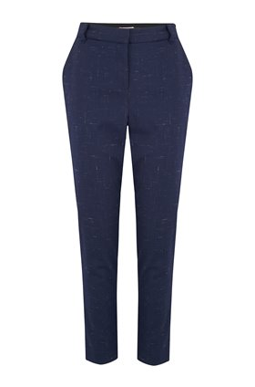 Tailored by Rebecca Taylor  CROSS HATCH PANT IN NAVY