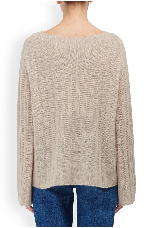 Rayne Wide Sleeve Rib Jumper in Sesame