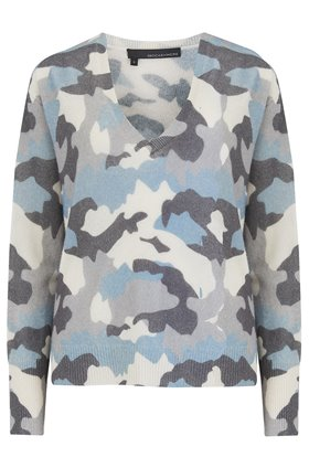 360 Sweater Theo Camo Jumper in Blue and Chalk