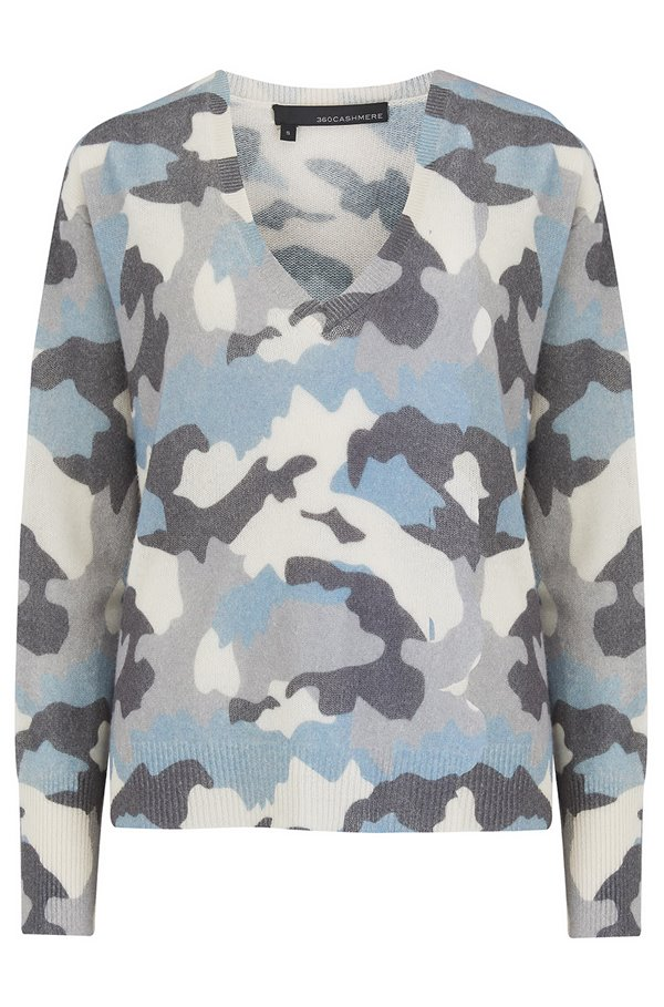 Theo Camo Jumper in Blue and Chalk