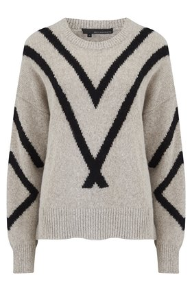 360 Sweater Paulina Diagonal Design Jumper in Hazel and Black