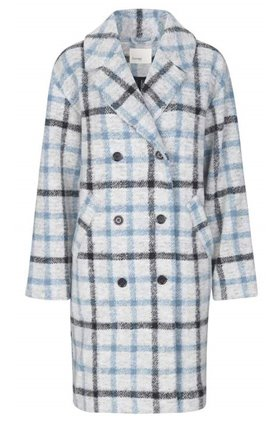 greta check coat in blue
