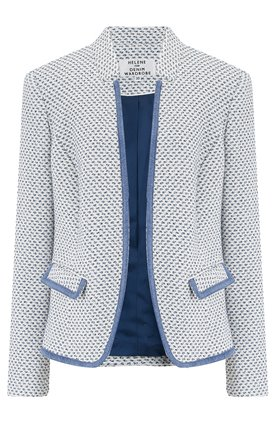 Helene Berman GIOLICA NOTCH COLLAR JACKET IN BLUE AND CREAM