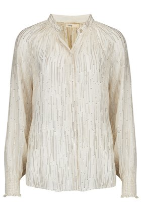 Levete Room  HOLLIE LUREX STRIPE BLOUSE IN CREAM