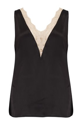 Levete Room  FLORENCE CONTRAST LACE CAMI IN BLACK