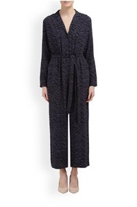 callan jumpsuit in charcoal tiger stripe