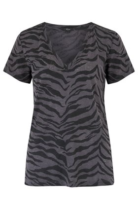 Rails CARA TOP IN CHARCOAL TIGER STRIPE