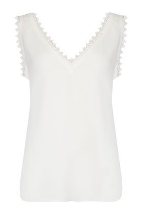 sleeveless silk lace tank in snow