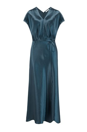 metallic flutter sleeve dress in casa blue