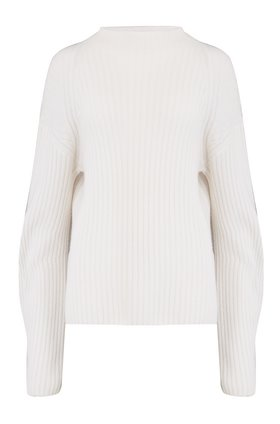RIBBED RAGLAN MOCK NECK JUMPER IN OFF WHITE