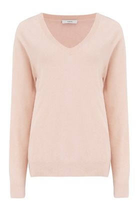 Vince WEEKEND V-NECK JUMPER IN PEACH SORBET