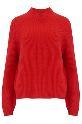 360 Sweater SOPHIA RIB TURTLENECK JUMPER IN CHERRY