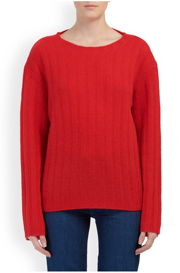 rayne wide sleeve rib jumper in cherry