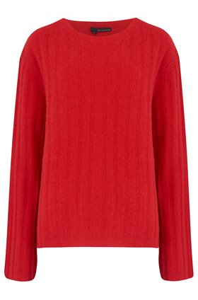 360 Sweater RAYNE WIDE SLEEVE RIB JUMPER IN CHERRY
