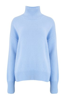 360 Sweater TASHA SEAM DETAIL TURTLENECK JUMPER IN BLUEBELL