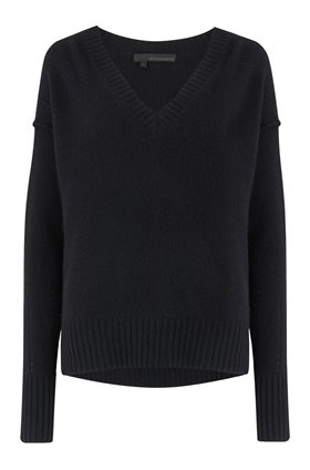 360 Sweater DARIA V-NECK JUMPER IN BLACK