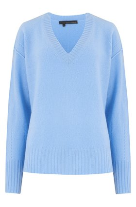 360 Sweater DARIA V-NECK JUMPER IN BLUEBELL