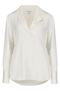 fitted notch collar shirt in off white