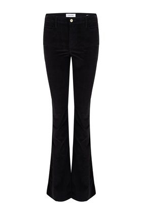 le high flare velveteen in noir