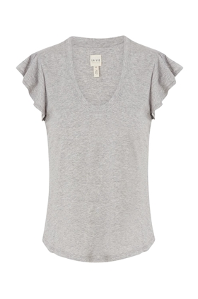 Rebecca Taylor La Vie  Washed Textured Jersey Top in Heather Grey