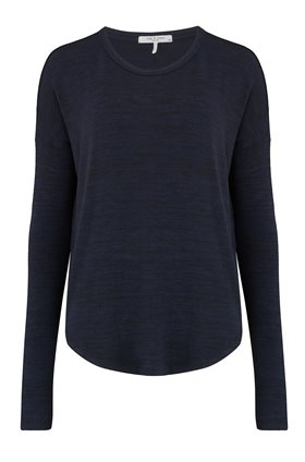 Rag and Bone HUDSON LONG SLEEVE TOP IN NAVY BLACK