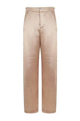 METALLIC WIDE LEG TROUSER IN PALE GOLD