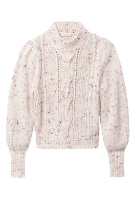 Rebecca Taylor TWEED CABLE PULLOVER IN SNOW