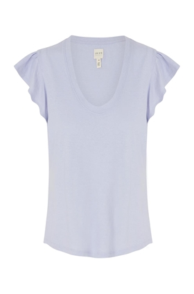 Rebecca Taylor La Vie  Washed Textured Jersey Top in Iris