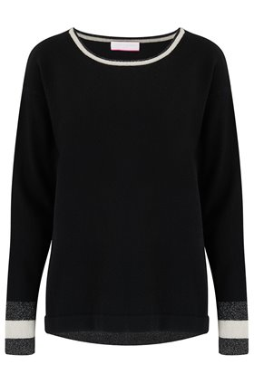 lurex tipped sleeve jumper in black