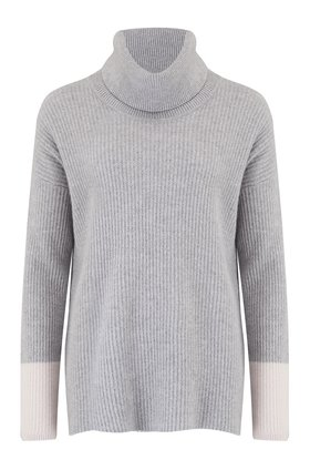 funnell neck contrast cuff jumper in grey