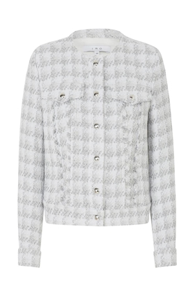 IRO Quilombe Tweed Jacket in White and Silver