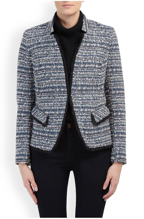 tobiac double v-neck jacket in navy pink