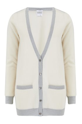 pontus lurex trim cardigan in cream and silver