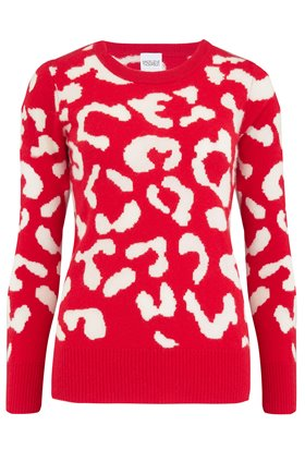 cupid leopard jumper in red and cream