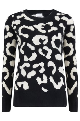 cupid leopard jumper in black and cream