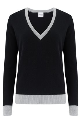 Madeleine Thompson MADDY V NECK LUREX SWEATER IN BLACK