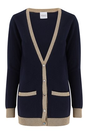 exclusive pontus lurex trim cardigan in navy