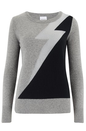 Madeleine Thompson EXCLUSIVE EROS LIGHTENING BOLT JUMPER IN GREY, BLACK AND SILVER