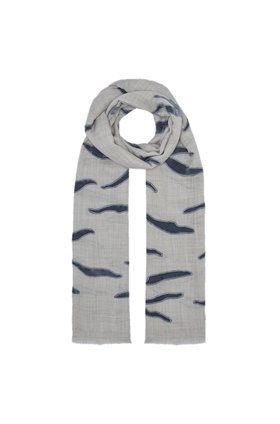 NALA APPLIQUE SCARF IN GREY AND BLUE