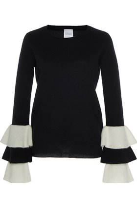 Madeleine Thompson JUPITER RUFFLE SLEEVE JUMPER IN BLACK