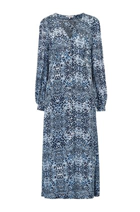 wren long sleeve dress in navy animal