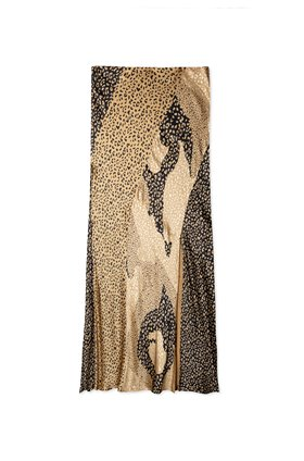 Rixo PARKER SPLICED MIDI SKIRT IN GOLD LEOPARD PATCHWORK