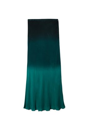 kelly mid slip skirt in dip dye teal