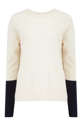Duffy EXCLUSIVE JUMPER IN CHALK AND NAVY