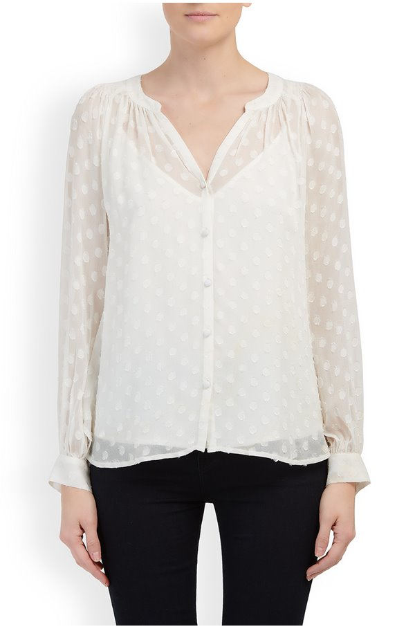 helga swiss dot blouse in cream