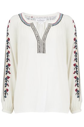 hunter embroidered top in off white