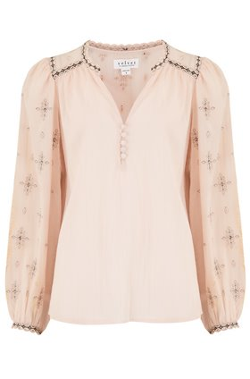 Velvet JACEY LUREX EMBROIDERED TOP IN BLUSH